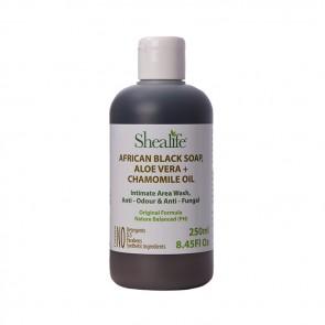 African Black Soap, ALOE VERA + CHAMOMILE OIL. Intimate Area Wash, Anti - Odour & Anti - Fungal Formula, 250ml
